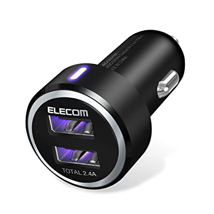 07b945ca4d7 Amazon.com: ELECOM EC-DC01BK Dual USB Car Charger (2.4A), High-Speed, Blue  LED Light for iPhone & iPad & Android, Black: Cell Phones & Accessories