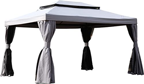 Grand patio 13.1 x 9.8 Outdoor Gazebo with Soft-Top Canopy and Shade Curtains Gray