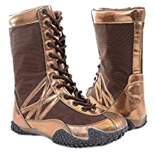Metallic Black Copper Kick-Boxing Flat Athletic Boots Vegan Women's