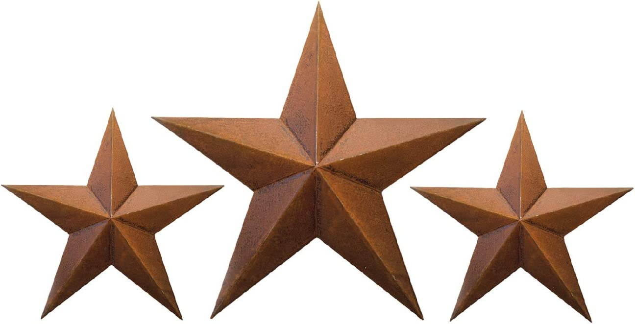 """RUSTY TIN BARN STAR SET - 2 X 12"""" 1X 18"""" for rustic primitive country indoor outdoor Christmas home decor. Interior exterior metal stars decorations look great hanging on house walls fence porch patio"""