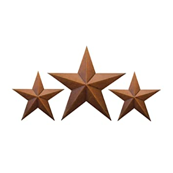 """Set of 2 Country Tan Primitive 10/"""" inches Barn Stars Rustic Wall Decor Tin Metal"""