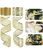 HUIHUANG Christmas Ribbon Wired Gold Swirl Mesh Wire Edge Ribbon 2 Rolls Assorted Crafts Ribbons for Wreaths Bows Christmas Tree Decoration Gift Wrapping (2 inch x 20 Yards)