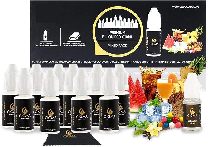 Cigma Worlds Mixed Fruit First Cleanser Pack - Líquido 10 X 10 ml E - Limpiador Líquido - Nuevo paño de limpieza ELiquid hecho especial - Nueva fórmula hecho para cigarrillo electrónico