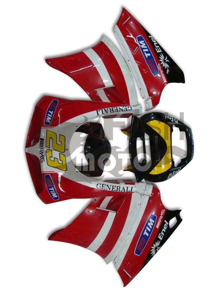 FlashMoto ducati デュカティ 996 748 916 1996 1997 1998 1999 2000 2001 2002 998 Biposto用フェアリング 塗装済 オートバイ用射出成型ABS樹脂ボディワークのフェアリングキットセット レッド, ブラック   B07L89ZHD9