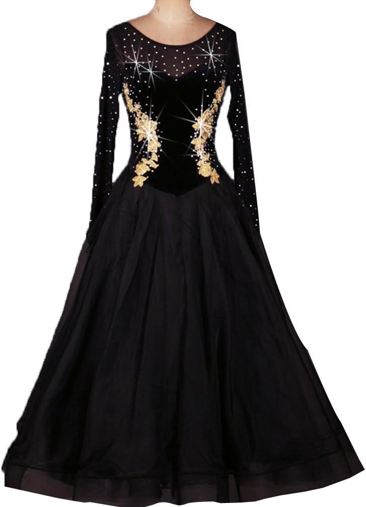 Cuello Redondo Apliques Diamante de Imitación Baile de Salón Lisa ...