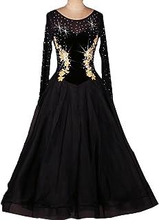 Robes de Danse de Salon Valse Lisse Moderne Tango Concurrence Dancewear Manche Longue Jupe Performance Danse Appliqué à la Main Strass MoLiYanZi