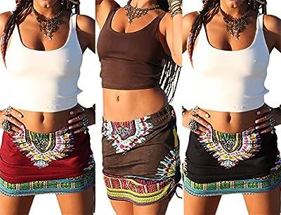 Womens African Printed Ethnic Dashiki Skirt Boho Ethnic Short Summer Beach Skirt