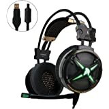 WeIM Gaming Headset Virgo M60 Black 7.1 Surround for PC, Intelligent Vibration, Strong Woofer Sound, Voice Changer, Flexible Sensitive Mic, LED Illumination, USB Connector, Pro Gaming Headset