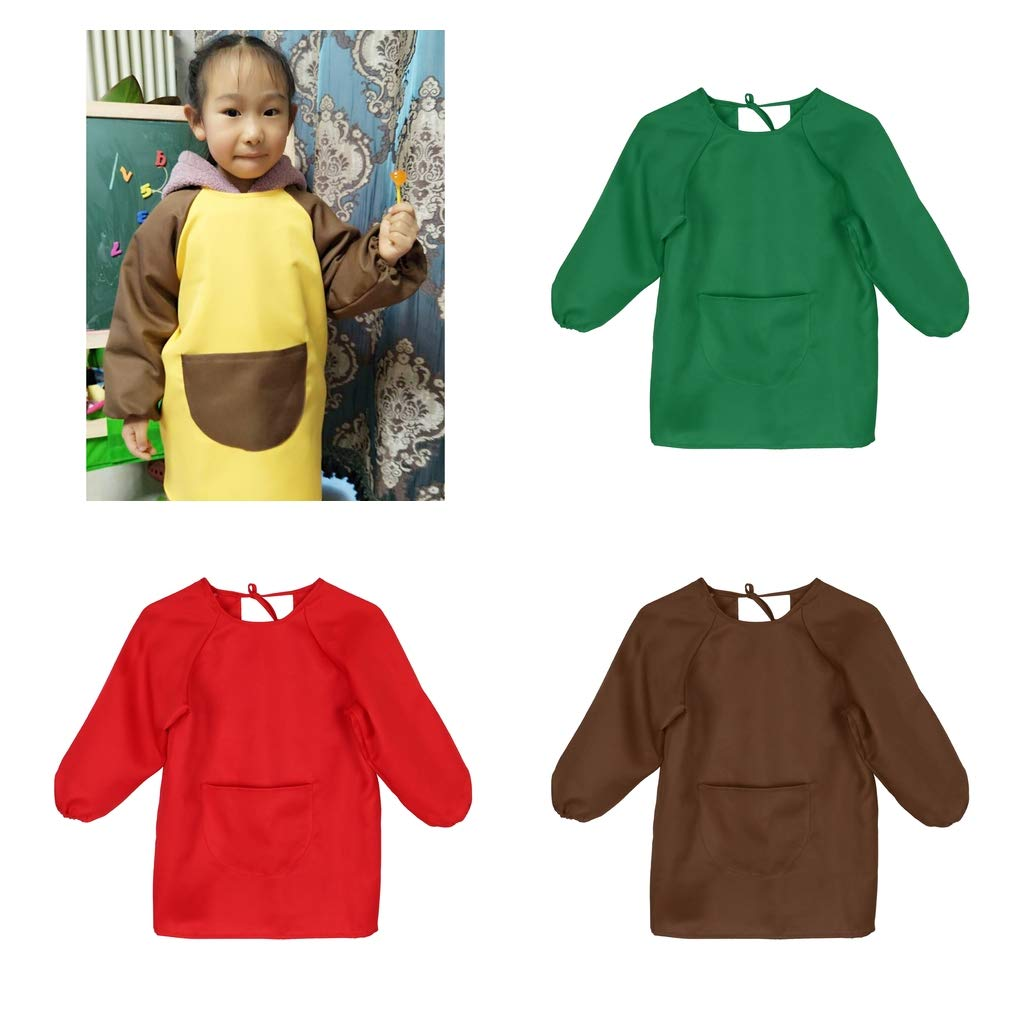 Green for 10-14T Fenteer Baby Waterproof Play Apron Childrens Kids Art Painting Baking Feeding Smock as described