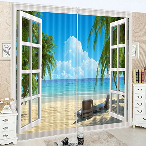 LB Tropical Beach 3D Window Curtains Drapes for Living Room Bedroom,Hawaiian Beach with Palm Trees and Sea Water Teen Kids Room Decor Blackout Curtains 2 Panels,28 by 65 inch Length