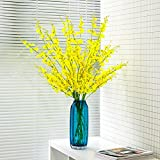 Stripe transparent glass vase yellow simulation dance, blue living room table, flower set,The 12 branch