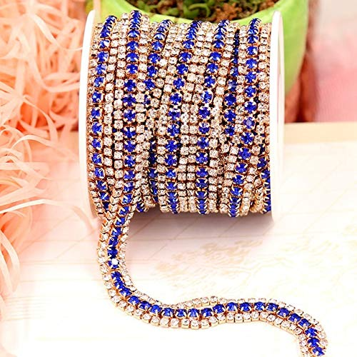 (Pukido 9MM Crystal Chain Trim Colorful Rhinestones Trim 1 Yard in 3 Row Chain Accessory DIY Dress Bags Jewelry Making Bracelet Necklace - (Color: Royal Blue)