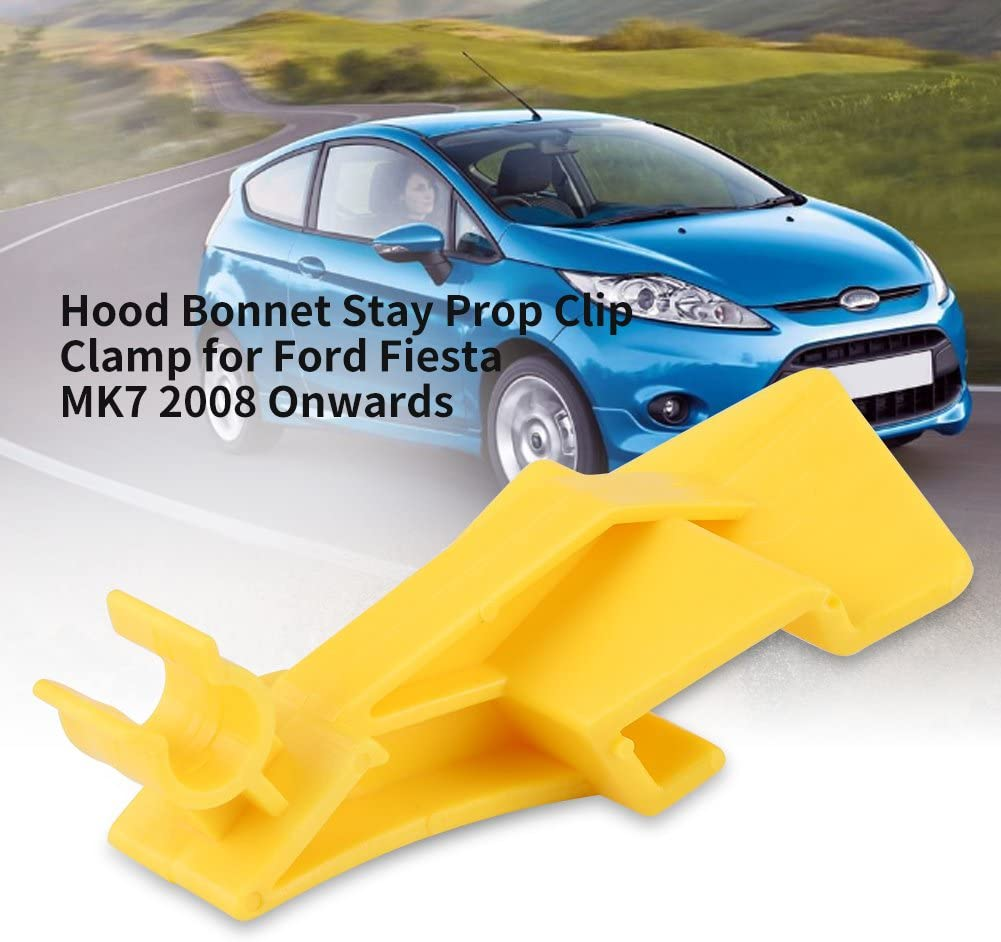 Hlyjoon Car Hood Stay Clamp 1763358 1583474 8A61 16828AC Hood Clamp Retainer Connect Yellow Engine Bonnet Stay Prop Clip for Fiesta MK7 2008-2020 Transit 2014-2020 B-Max 2012-2020