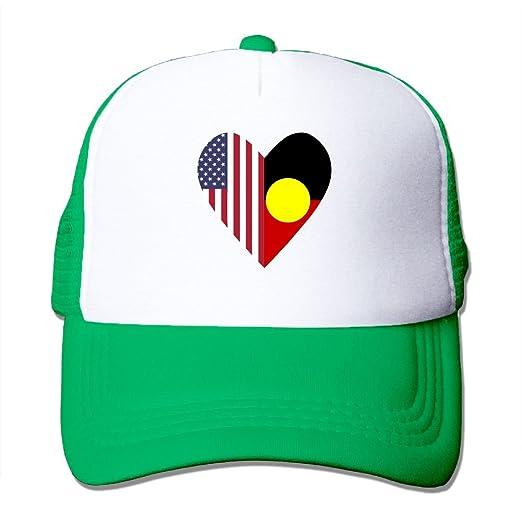 Menwomen Half Australian Aboriginal Flag Half Usa Flag Love Heart