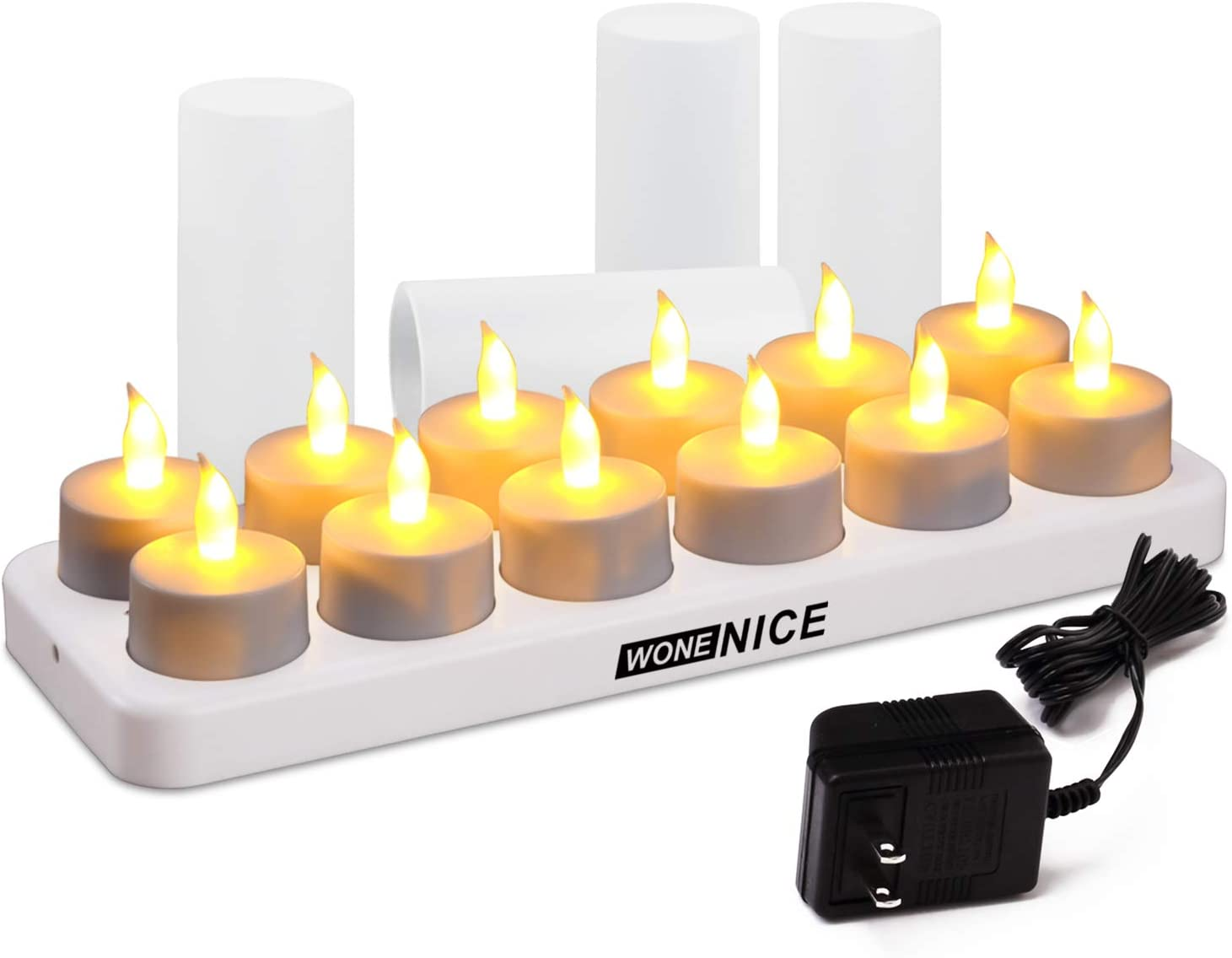 Amazon Com Wonenice Rechargeable Tea Lights Flickering Tealight Candles With Charging Base And Ac Adapter Like Real Candles No Batteries Necessary Romantic For Parties Events Weddings Living Room And Bath Home Kitchen