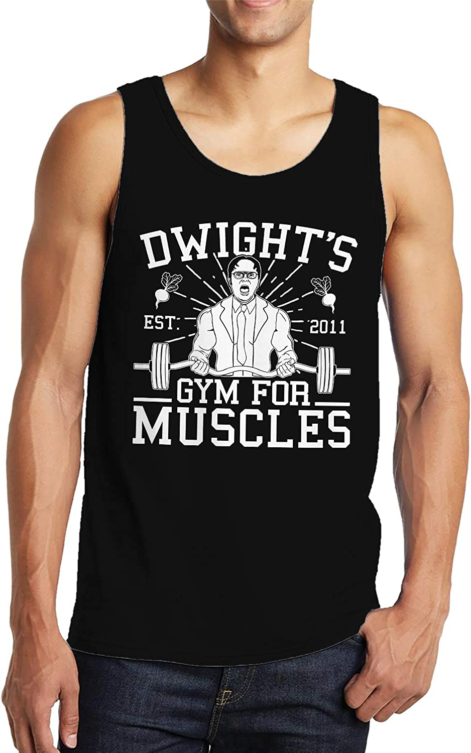 SpiritForged Apparel Dwight's Gym for Muscles Men's Tank Top