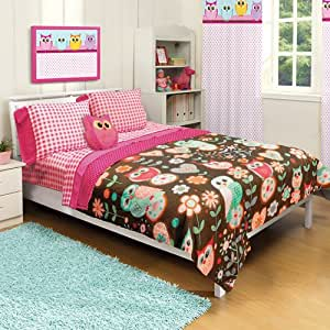 Amazon Com Girl Pink Brown Owl Floral Flower Twin