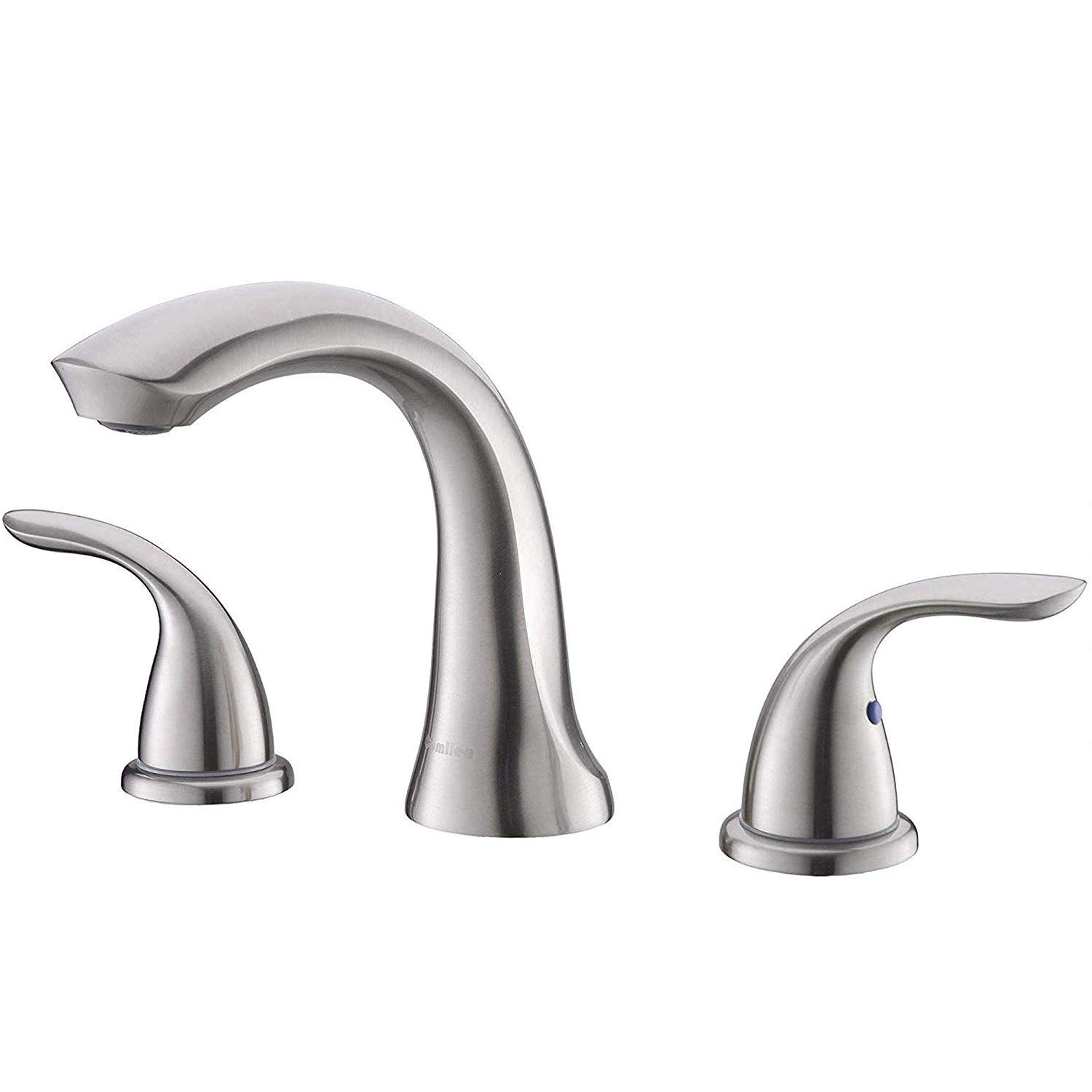 Comllen Well Recommend Modern Solid Brass Brushed Nickel 8 Inch Lavatory Widespread Bathroom Faucet Bathroom Sink Faucet Without Pop Up Drain