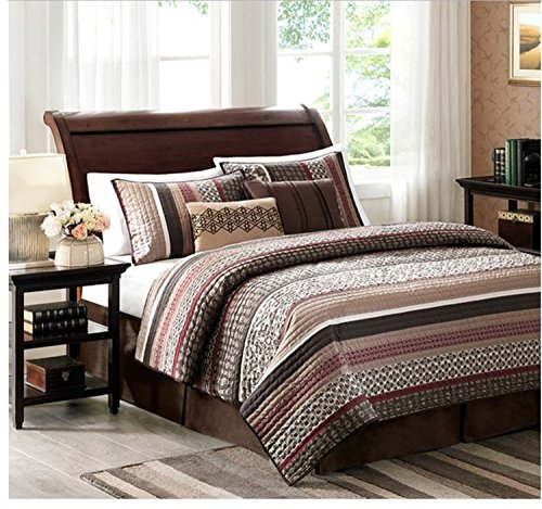 5 Piece Jacquard Stripe Pattern Comforter Set King Size, High-Class Vintage Design Themed Stripes, Eye-Catching Stylish Boho Chic Bedding, For Modern Bedrooms, Vibrant Colors Red Brown - Pink Color Brown