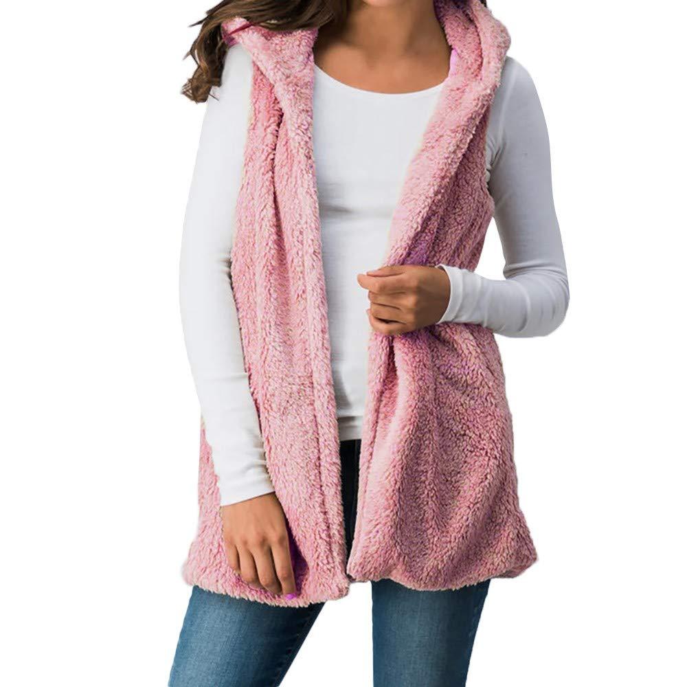 Women Lady Faux Vest Fur Solid Hooded Outwear Sleeveless Pockets Warm Top Cami Waistcoat Knitting Pink