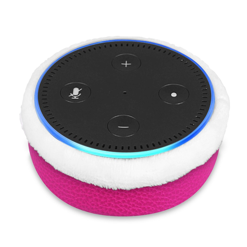 Fintie Protective Case for Amazon Echo Dot (fits All-New Echo Dot 2nd Generation) - Premium Vegan Leather Sleeve Cover Plush Lined Holder Stand, Magenta