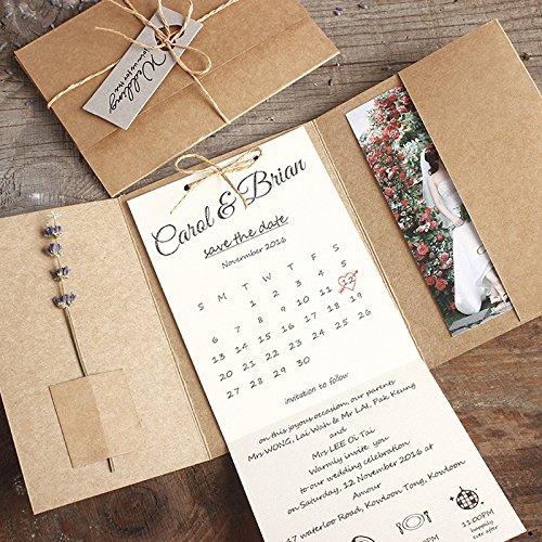 Kraft Pocket Wedding Invitations, Rustic Wedding Invites Custom Wording Print - Set of 50 pcs]()
