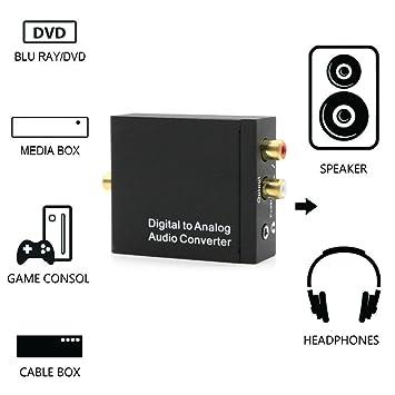 hangang Converter Convertidor de digital a analógico DAC Digital SPDIF Toslink ad analógica estéreo Audio L