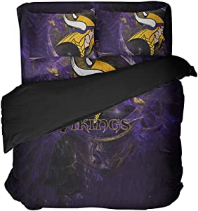 Cospnt Magical Color Football Bedding Sheet Sets Sports Fan 3D Print Minnesota Football Bed Sets King (Style, Full-4pcs)