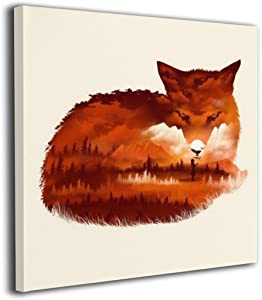 MARTOO ART Fox Painted Framed Pictures Printed On Canvas Wall for Office Home Decor Paintings Modern Artwork Decorations Ready to Hang 12