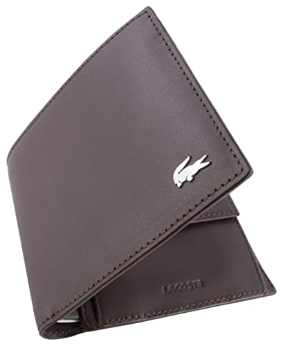 988b3a599 Amazon.com  Lacoste Mens Large Billfold and Coin Wallet - Dark Brown ...