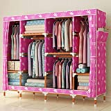 GL&G Wardrobe Closet Oxford cloth Fabric Free Standing Storage Organizer – Home finishing decoration Portable, Detachable, and Solid wood Double Lightweight Clothing Closet ,F,78''67''