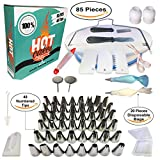 Cake Decorating Supplies- 85 pcs Professional Cupcake Decorating Set- Baking Supplies- Rotating Turntable Non Slip- Icing & Piping Bags and Numbered Tips Set- Icing Spatula and Fondant Smoother