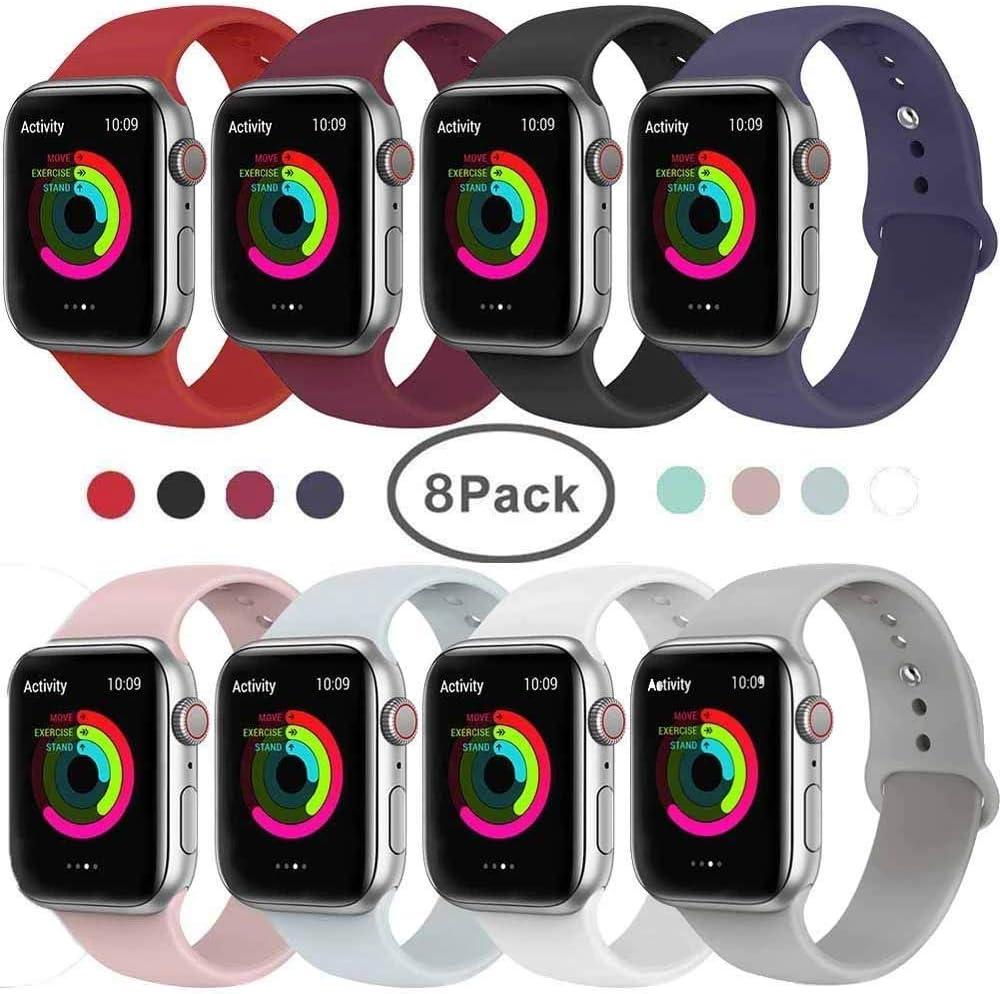 VIKATech Correa de Repuesto Compatible con Apple Watch de 40 mm/38 mm, Correa de Silicona Suave de Repuesto para iWatch Series 4/3/2/1, S/M, 8Pack