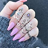 ULAKY Bohemian Leaf Carved V Geometric Finger Knuckle Ring Set Tribal Silver Plated Retro Ethnic Rings