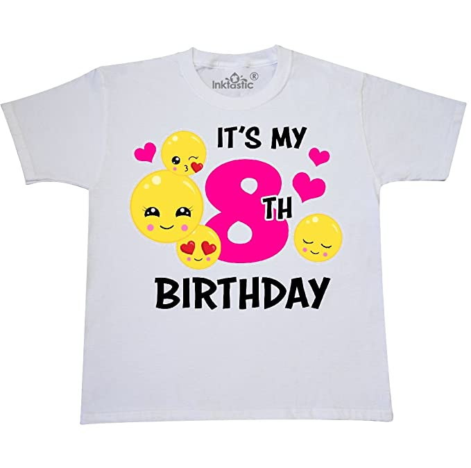inktastic Its My 8th Birthday with Emojis Youth T-Shirt