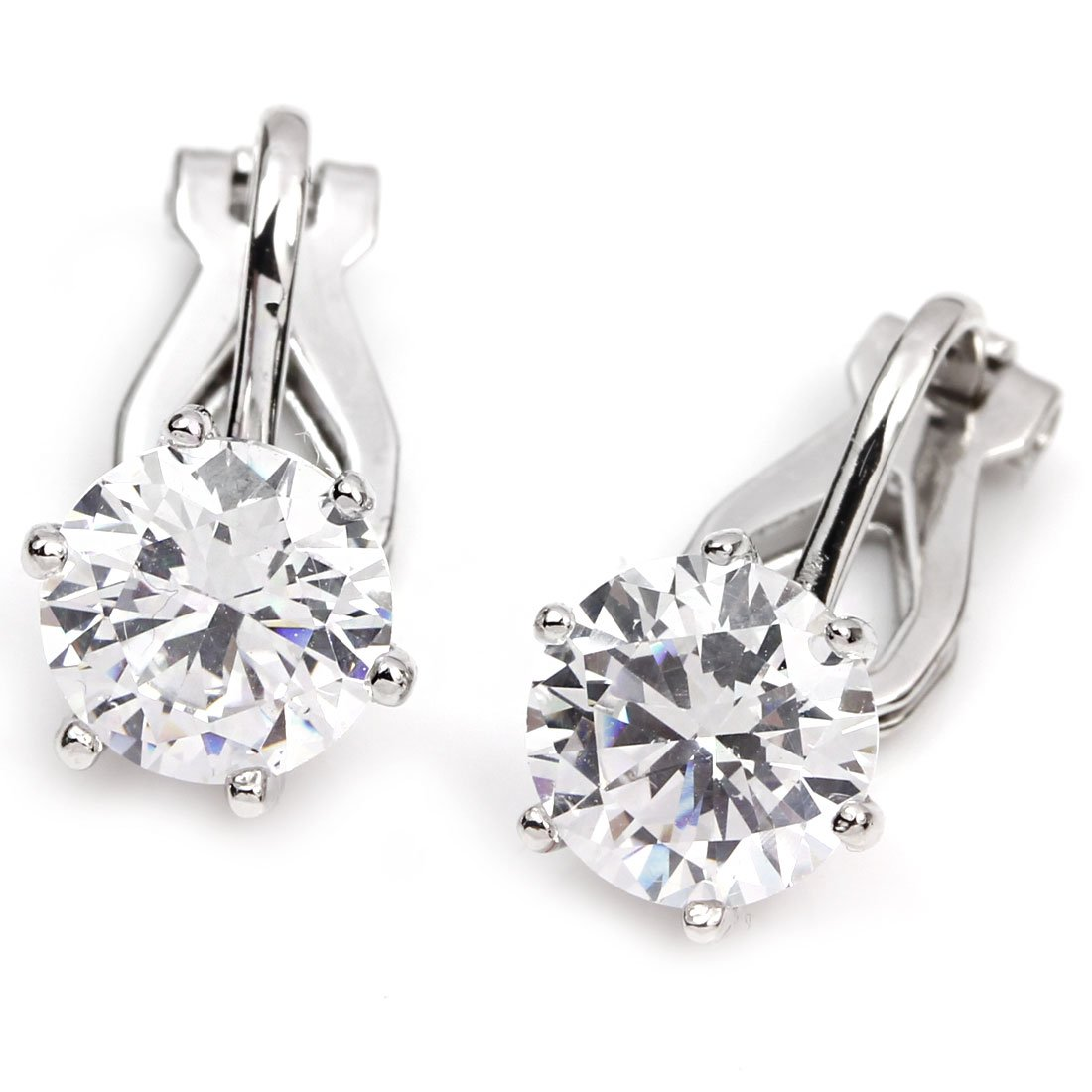 FC JORY White Gold Plated Crystal Prong Solitary Round-Cut Clip On Earrings