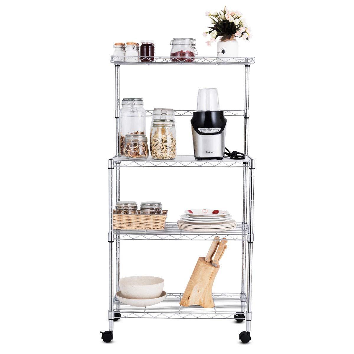 3-Tier Kitchen Baker's Rack Stand Storage Cart Workstation Shelf