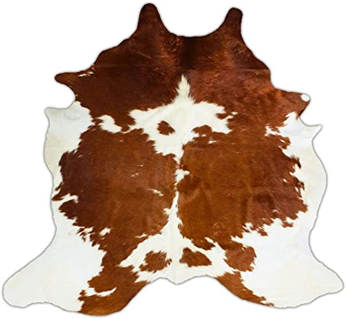 RODEO Pure Brown White Superior Cowhides Rug Large Size 5x6Ft 150cm x 210cm