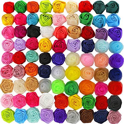 Myamy Baby Girls Satin Ribbon Rosettes Hair Flowers Boutique Rose Flowers For Kids Children Teens Gifts Set Of 80