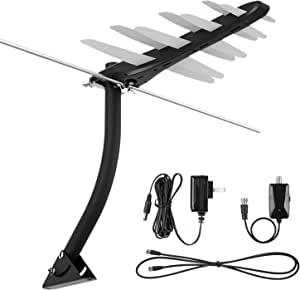 1byone [Newest] Amplified Outdoor Digital HDTV Antenna 85-100 Miles Range with VHF/UHF Signal, Built-in High Gain and Low Noise Amplifier, Mounting Pole