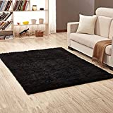 YJ.GWL Soft Shaggy Area Rugs for Bedroom Kids Room Children Playroom Non-Slip Living Room Carpets Nursery Mat Home Décor Rug 4 Feet x 5 Feet (Black)