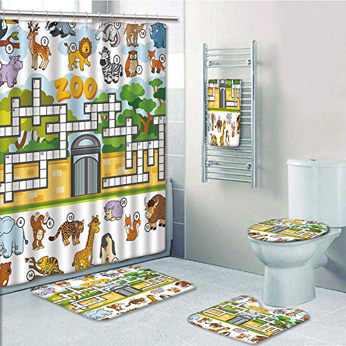 Bathroom 5 Piece Set shower curtain 3d print Multi Style,Word Search Puzzle,Zoo Themed Education Game with Different Animals Numbers and Words Print Decorative,Multicolor,Bath Mat,Bathroom Carpet Rug,