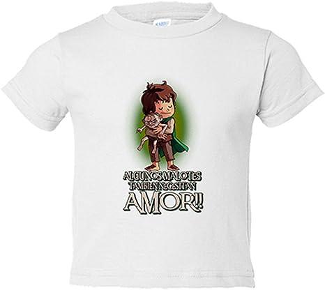Camiseta niño parodia de El Señor de los Anillos Frodo y Gollum algunos malotes también necesitan amor San Valentín - Blanco, 3-4 años: Amazon.es: Bebé