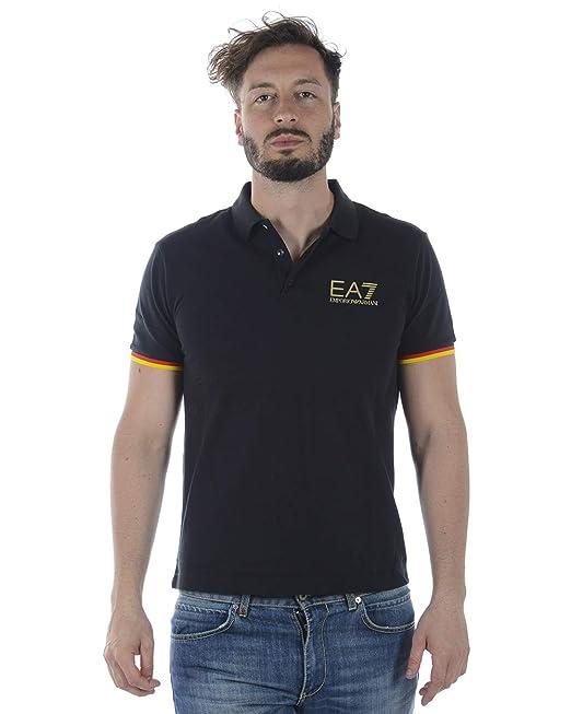 26bbab2ca61a51 EA Polo EA7 Emporio Armani 7 3ZPFA3 Uomo Maglia Nero Blu Spagna Germania  Italia  Amazon.it  Abbigliamento