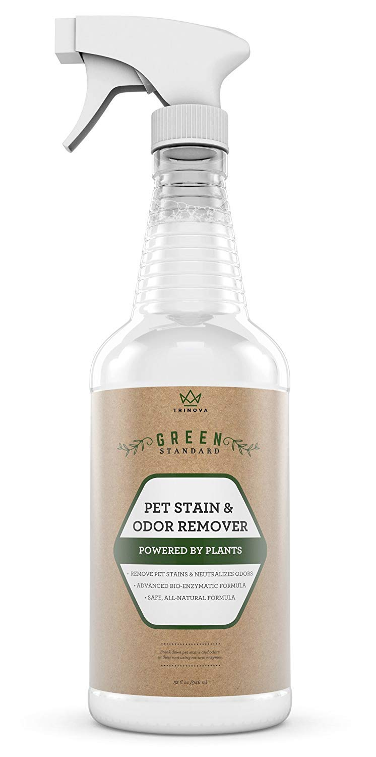 TriNova Natural Pet Stain and Odor Remover Eliminator - Advanced Enzyme Cleaner Spray - Remove Old & New Pet Stains & Smells for Dogs & Cats - All-Surface Safe - 32 OZ ... by TriNova