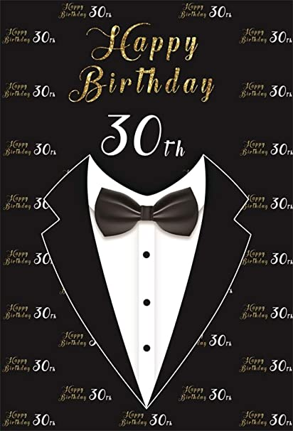 AOFOTO 5x7ft Happy 30th Birthday Backdrop Abstract Suit Bow Tie Dress Photography Background Man Young Gentleman