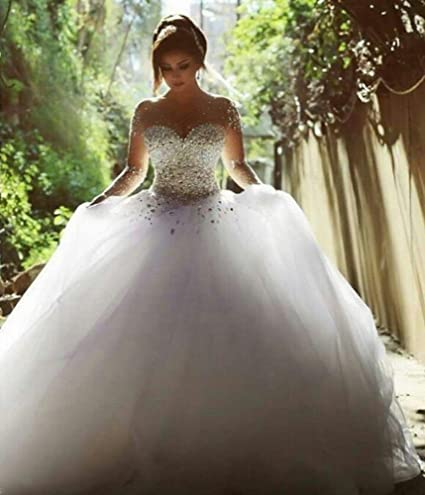 SED Vestido de Novia Nupcial de Manga Larga Vestido de Novia de Color Blanco,Beige