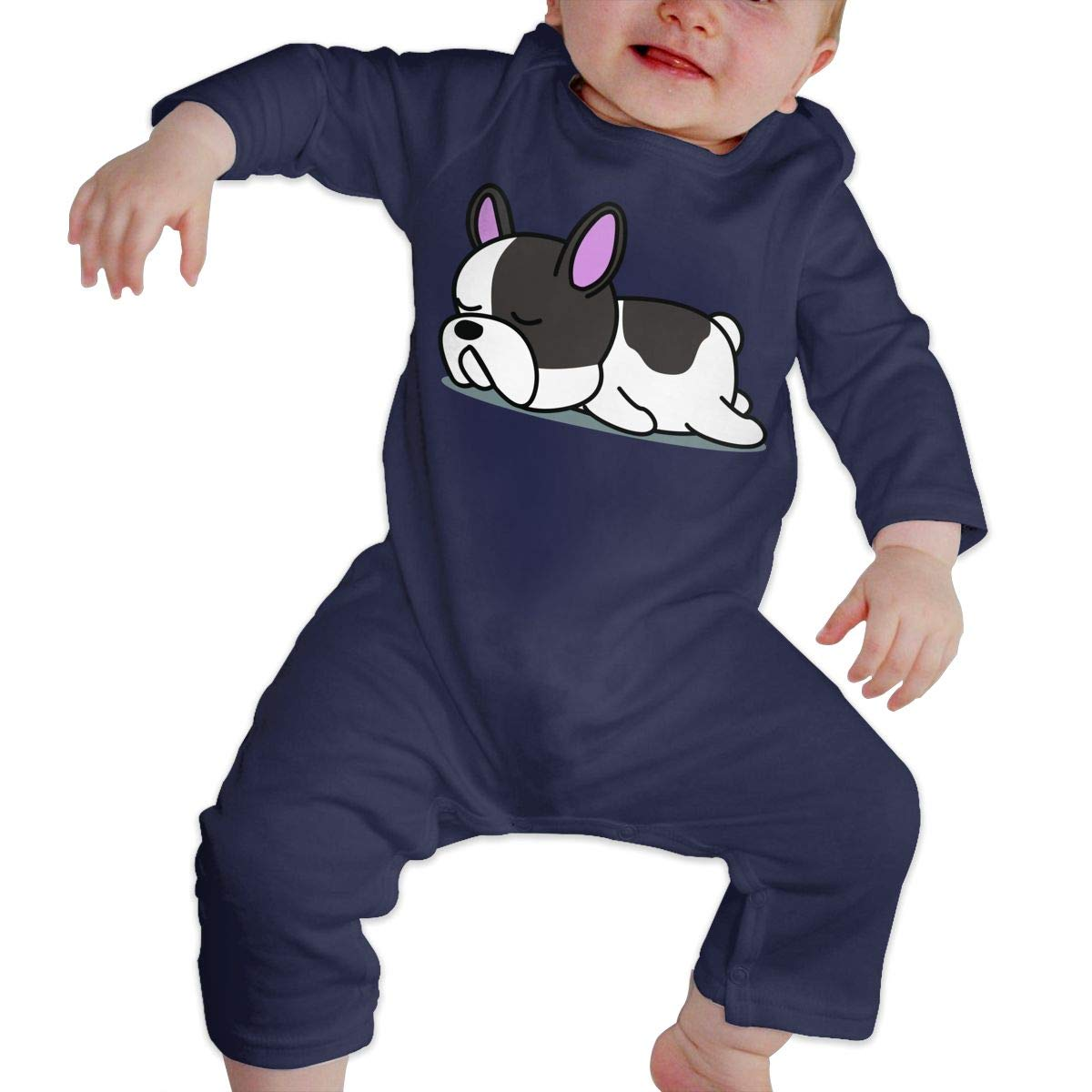 YUE--3BODY Sleepy Lazy French Bulldog Newborn Kids Long Sleeve Infant Cotton Bodysuits
