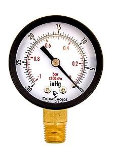 "2"" Utility Pressure Gauge for Water, Oil, Gas, 1/4"" NPT Lower Mount, Black Steel Case, 30HG/0PSI"