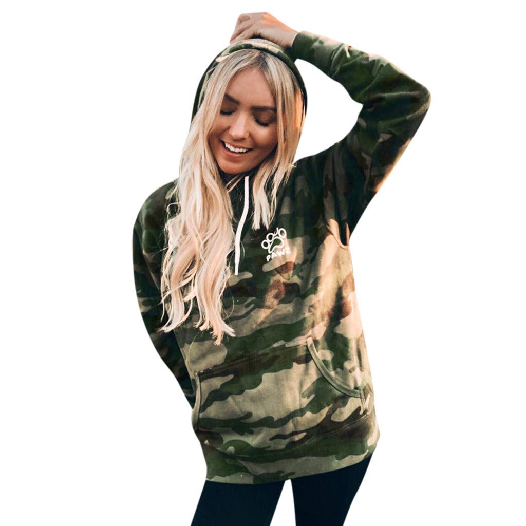 Women's Camouflage Hoodies Pullover Sweatshirt Hooded Camo Long Sleeve Dog's paw Printing Blouse with Pockets(Camouflage,XL) by Amacok